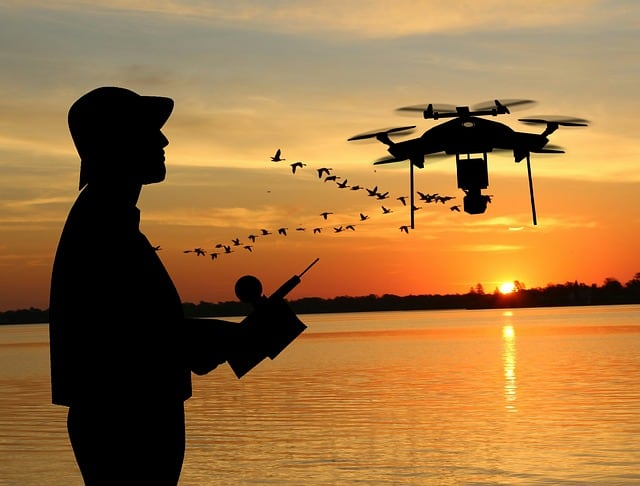 man practicing safe drone flying