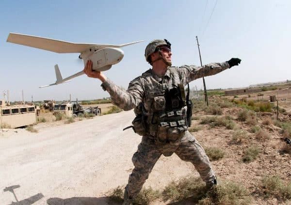 Soldier Throwing Drone